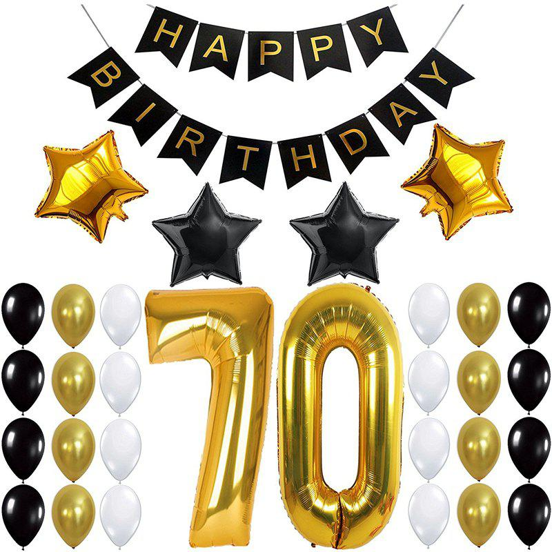 Fancy 70TH Birthday Party Decorations Kit Happy Birthday Banner Number Balloons for Bday Party