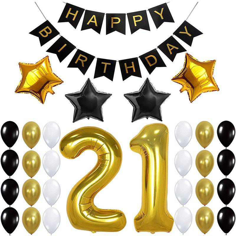 Best 21ST Gold Number Balloon Foil Mylar Balloons Happy Birthday Banner for Bday Party Decorations