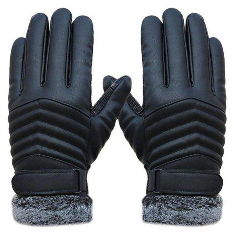 Sale 1 Pair Delicate Men Winter Leather Driving Slip Thermal Winter Sports Gloves
