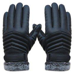 1 Pair Delicate Men Winter Leather Driving Slip Thermal Winter Sports Gloves -