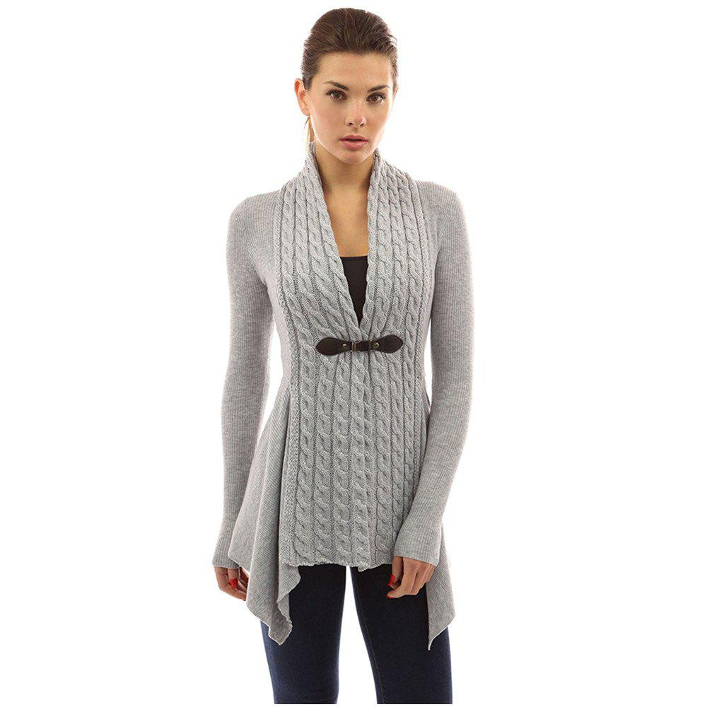 Cheap Women's Buckle Braid Front Cardigan