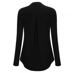 Women Plus Size V Neck Long Sleeve Roll-Up Sleeve Zip Up Casual T-shirt -