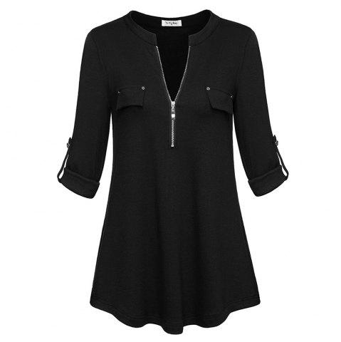 Store Women Plus Size V Neck Long Sleeve Roll-Up Sleeve Zip Up Casual T-shirt