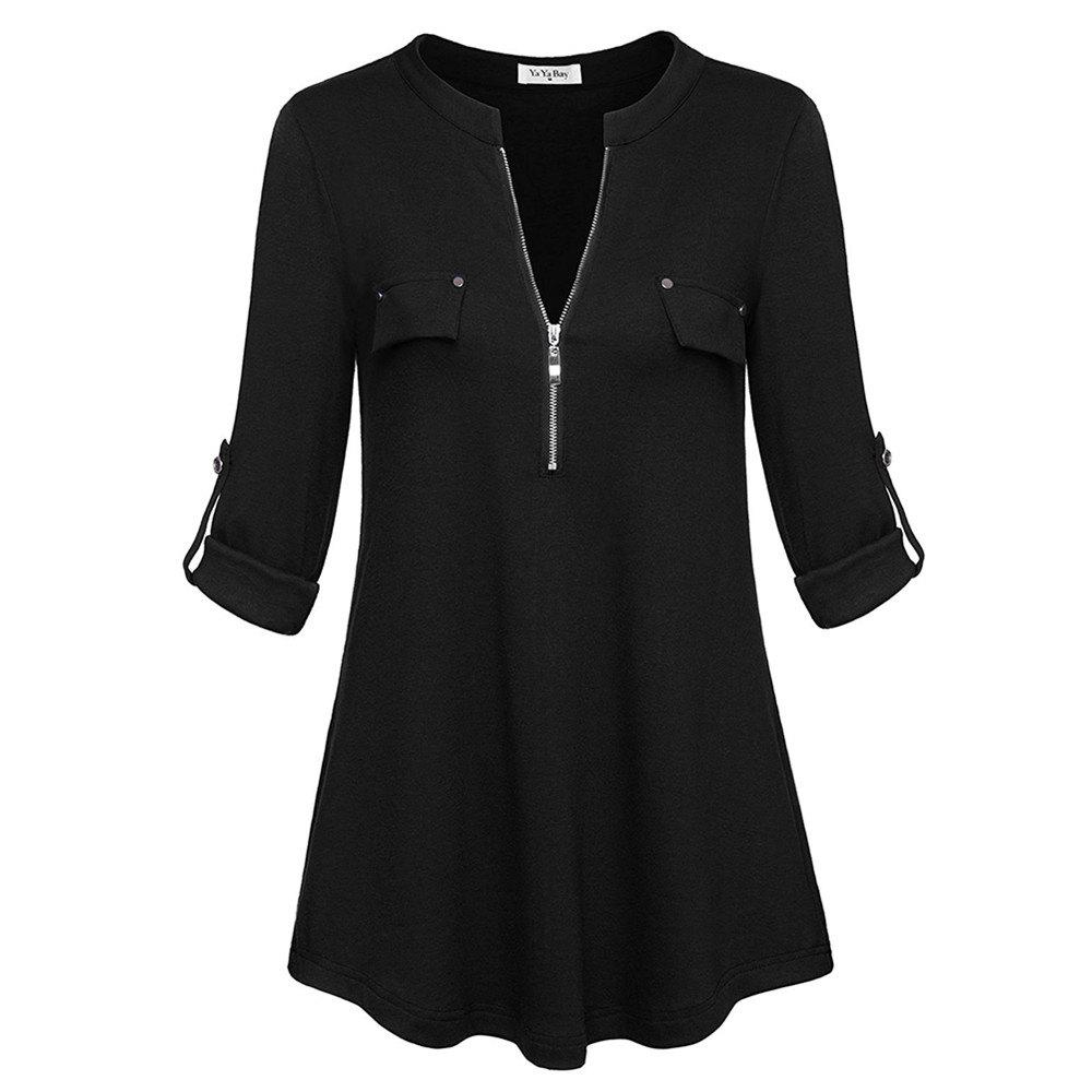 Buy Women Plus Size V Neck Long Sleeve Roll-Up Sleeve Zip Up Casual T-shirt