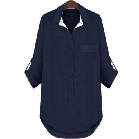 Discount Plus Size Long Sleeved Medium and Long Style Shirt