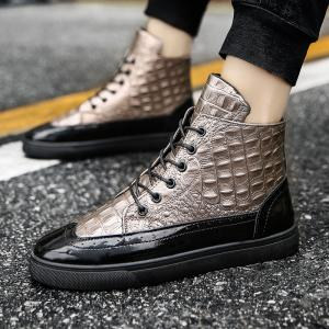 Мужская мода Leisure Boots Casual Spring Crocodile Leather Business Удобная обувь -