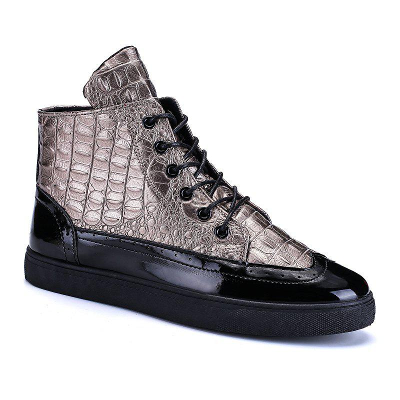 Shop Men Fashion Leisure Boots Casual Spring Crocodile Leather Business Comfortable Shoes