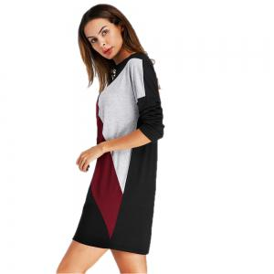 Coloured Splicing and Casual Round Collar Dress -