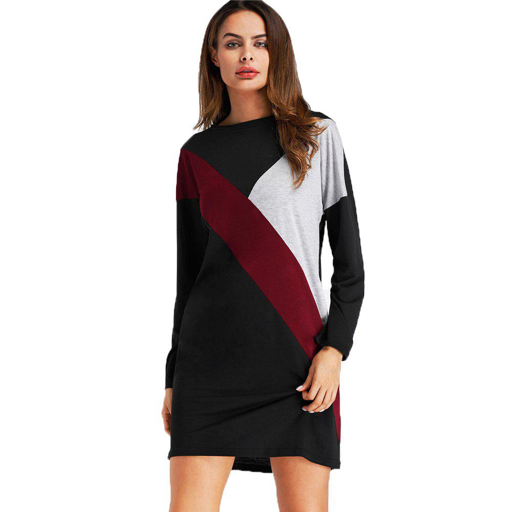 Cheap Coloured Splicing and Casual Round Collar Dress