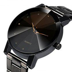 Black Montres Pour Homme Colck Style Watch Stainless Steel Leather Strap Man Quartz Analog Wrist Watch -