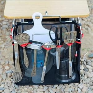 Outdoor Camping Wire Rack Portable Storage Bag Picnic Table Barbecue Kit Kitchen Miscellaneous Net Set -