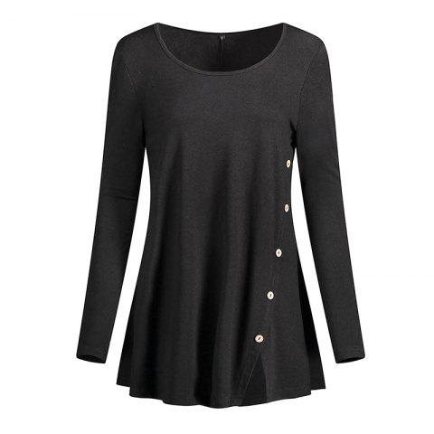 2018 New Fashion O neck Full Sleeve Casual Party Button T Shirt
