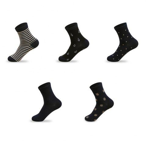 Unique Stars Graphic Elastic Knit Socks B2017311 - 5 Pairs