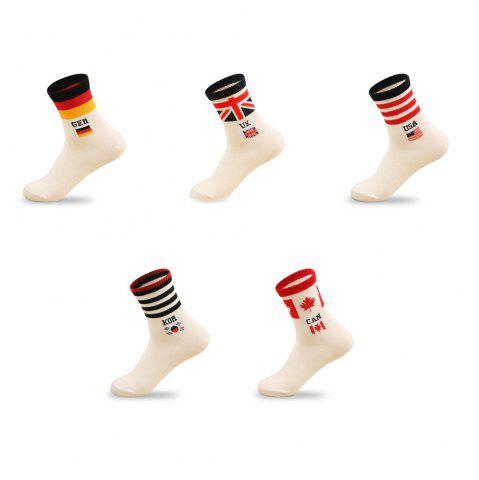 Trendy Printed with A Flag Pure Color Elastic Knitted Socks B2017315 - 5 Pairs