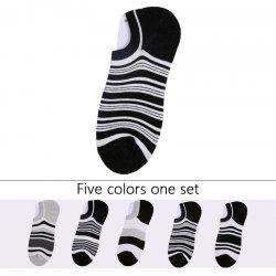 Stripes Graphic Elastic Knitting Socks B201718 - 5 Pairs -