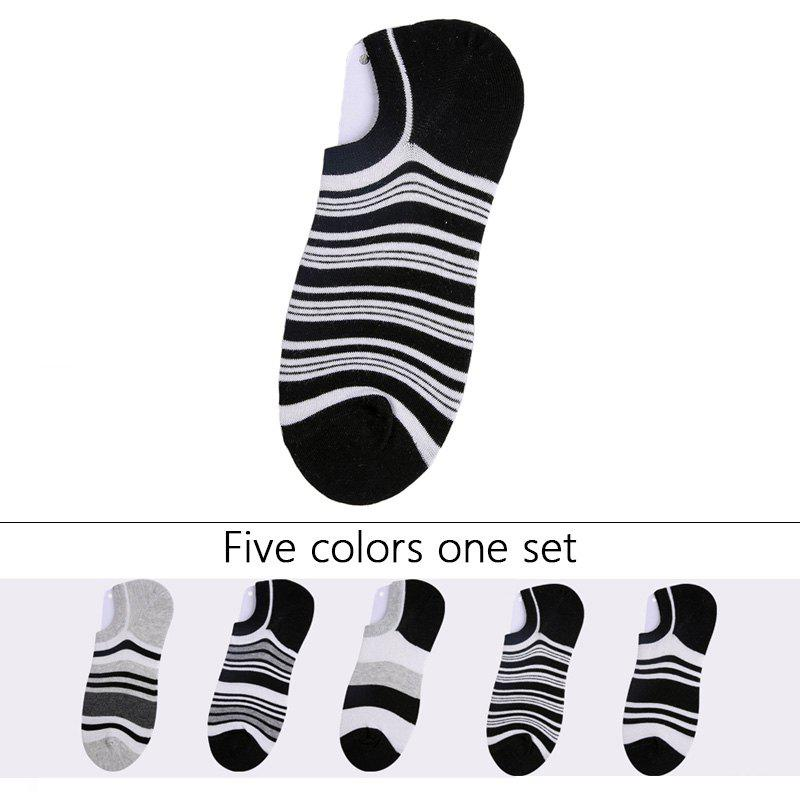 Sale Stripes Graphic Elastic Knitting Socks B201718 - 5 Pairs