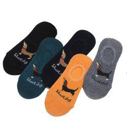 Dog Graphic Elastic Knitting Socks B2017115 - 5 Pairs -