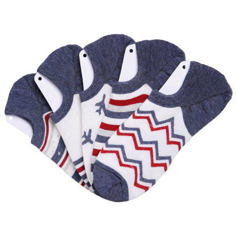 Best Stripe Graphic Elastic Knitting Socks B2017132 - 5 Pairs