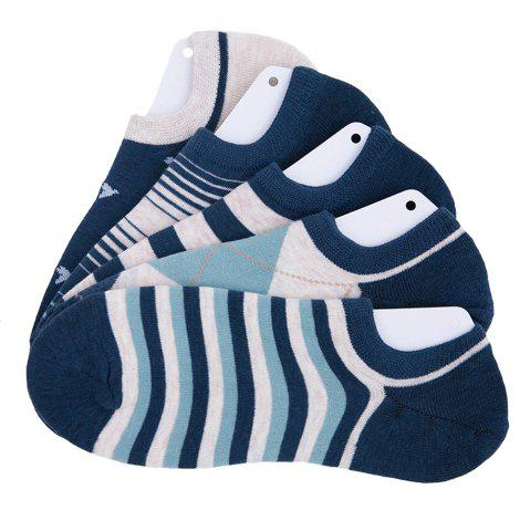 Sale Stripe Graphic Elastic Knitting Socks B2017133 - 5 Pairs