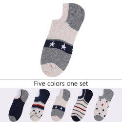 Stars Stripe Graphic Elastic Knitting Socks B2017139 - 5 Pairs -