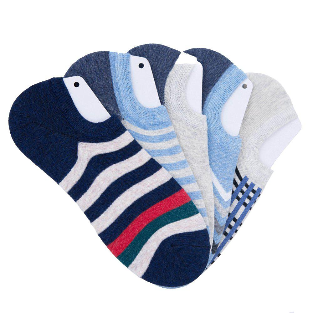 New Stripe Graphic Elastic Knitting Socks B2017141 - 5 Pairs