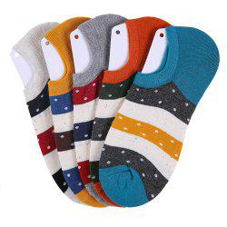 Spell Color Stripe Graphic Elastic Knitting Socks B2017142 - 5 Pairs -