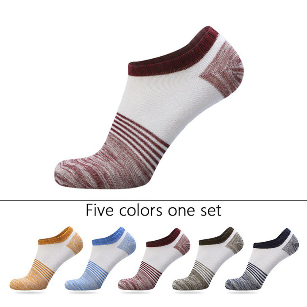 Latest Spell Color Stripe Graphic Elastic Knitting Socks B2017205 - 5 Pairs