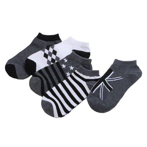 Unique Stars Stripe Graphic Elastic Knitting Socks B2017233 - 5 Pairs