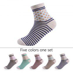 Stripes Graphic Elastic Knit Socks B201644 - 5 Pairs -