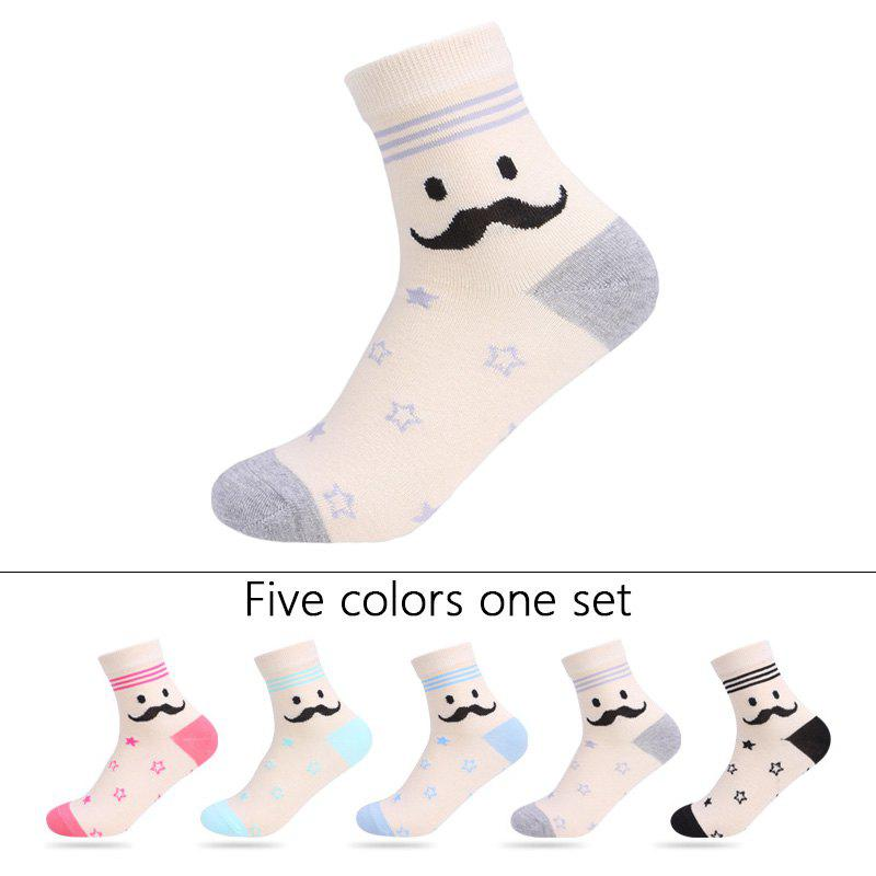 Affordable Stars Graphic Elastic Knit Socks B201643- 5 Pairs