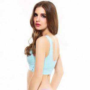 Front Button with Lace Movement Without Steel Ring Yoga Sleep Bra -