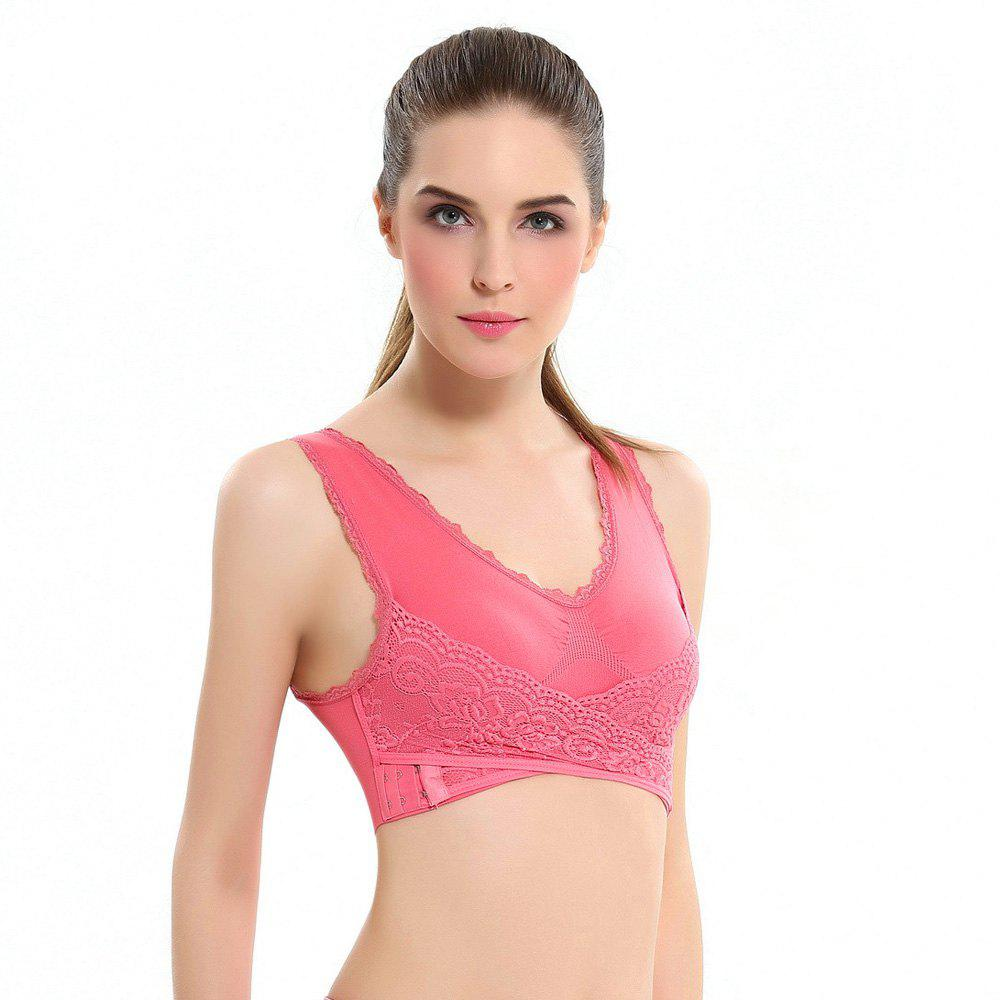 Outfits Front Button with Lace Movement Without Steel Ring Yoga Sleep Bra