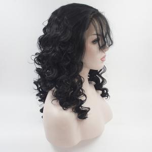 16 - 24 Inch Long Curly Wavy Black Color with The Baby Hair Bangs Heat Resistant Synthetic Lace Front Wigs for Women -