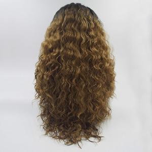 16 - 24 Inch Long Curly Wavy Style Black Root Ombre Yellow Color Synthetic Hair Lace Front Wigs for Women -