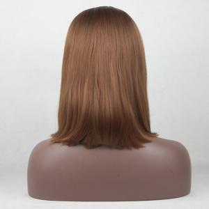 12 - 16 inch Light Brown Color Black Root Ombre Short Bob Style Straight Heat Resistant Synthetic Hair Lace Front Wigs -