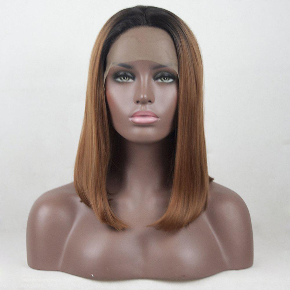 Buy 12 - 16 inch Light Brown Color Black Root Ombre Short Bob Style Straight Heat Resistant Synthetic Hair Lace Front Wigs