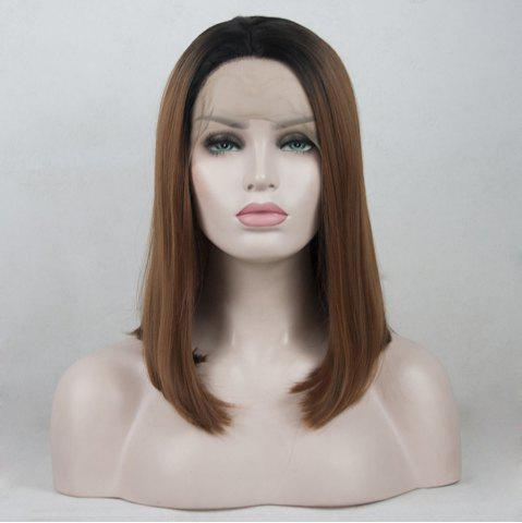 Trendy 12 - 16 inch Black Root Light Brown Ombre Color Bob Style Heat Resistant Synthetic Hair Lace Front Wigs for Women