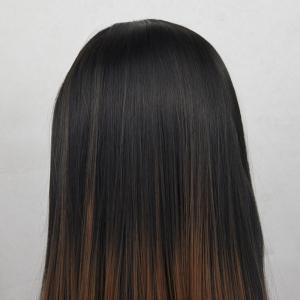 12 - 16 inch  Ombre Black Root Light Brown Bob Style Heat Resistant Synthetic Hair Lace Front Wigs for Women -