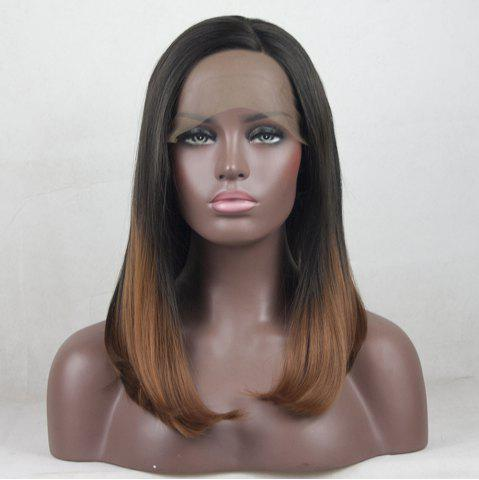 New 12 - 16 inch  Ombre Black Root Light Brown Bob Style Heat Resistant Synthetic Hair Lace Front Wigs for Women