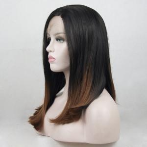 12 - 16 Inch Black Root Ombre Light Brown Bob Style Heat Resistant Synthetic Hair Lace Front Wigs for Women -