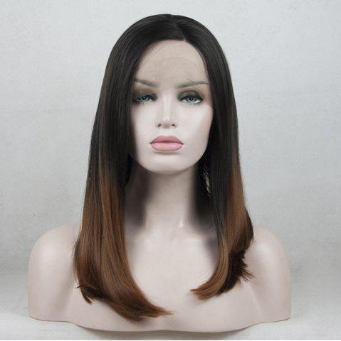 New 12 - 16 Inch Black Root Ombre Light Brown Bob Style Heat Resistant Synthetic Hair Lace Front Wigs for Women