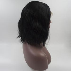 12 - 16 Inch Black Short Hair Water Wavy Style Heat Resistant Synthetic Hair Wigs for Women -