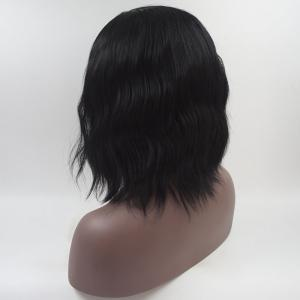 Black Short Hair Water Wavy Style Heat Resistant Synthetic Hair Wigs for Women -