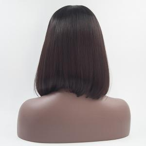 12 - 16 inch Black Root Dark Brown Bob Style Heat Resistant Synthetic Lace Front Wigs for Women -