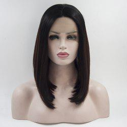 12 - 16 Inch Dark Brown Black Root Bob Style Heat Resistant Synthetic Hair Lace Front Wigs for Women -