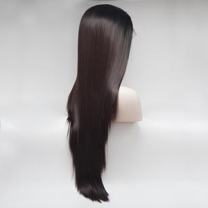 14 - 24 Inch Long Straight Dark Brown Black Root Ombre Heat Resistant Synthetic Hair Lace Front Wigs for Women -