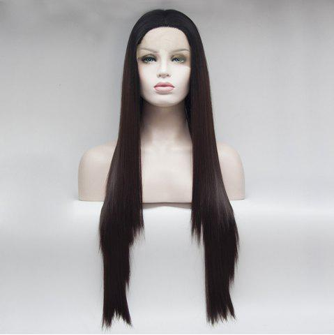 Best 14 - 24 Inch Long Straight Dark Brown Black Root Ombre Heat Resistant Synthetic Hair Lace Front Wigs for Women