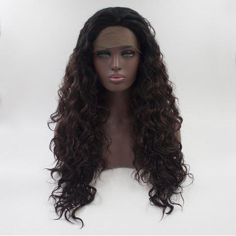 Store 16 - 24 Inch Long Curly Wavy Style Dark Brown Black Root Heat Resistant Synthetic Hair Lace Front Wigs for Women