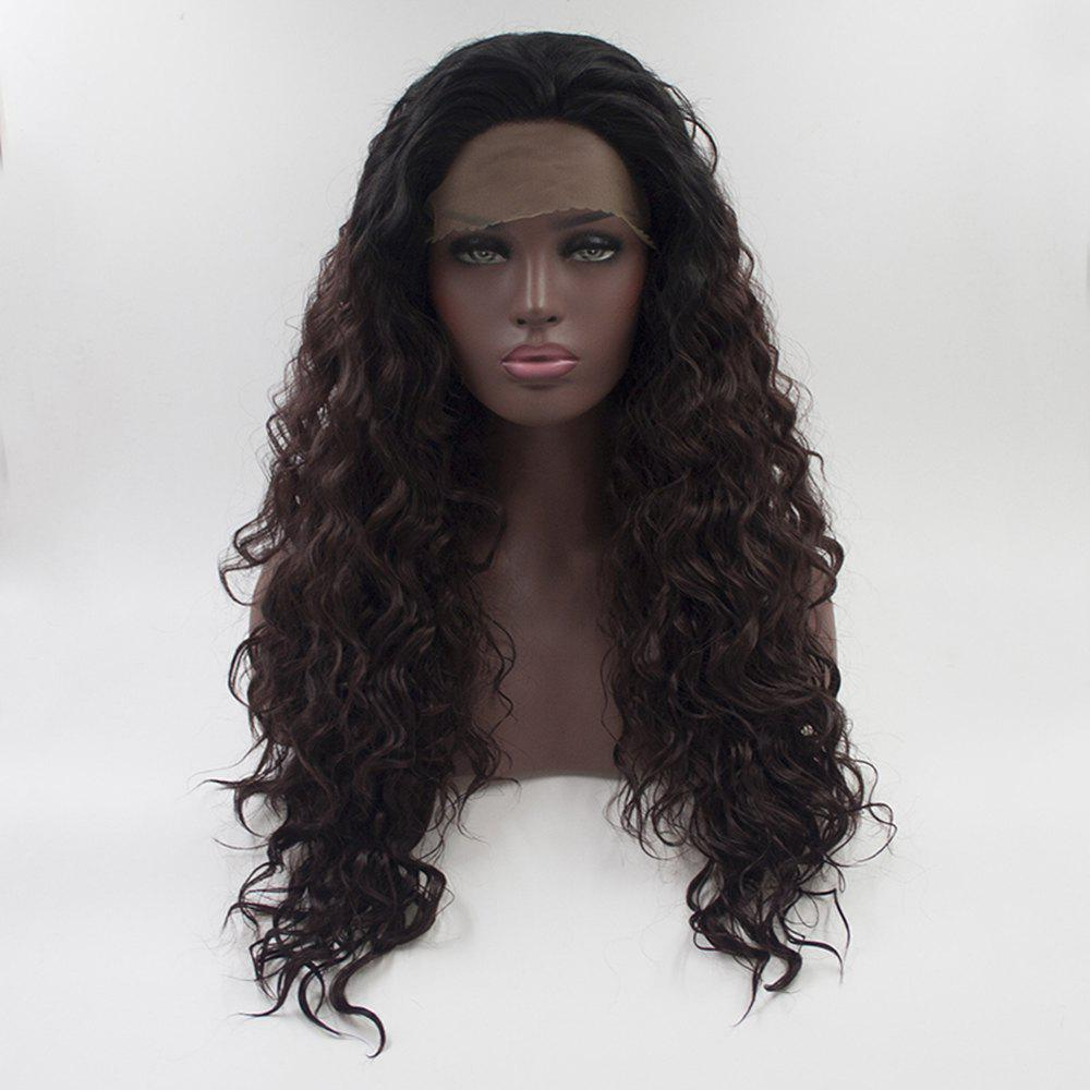 Outfit 16 - 24 Inch Long Curly Wavy Style Dark Brown Black Root Heat Resistant Synthetic Hair Lace Front Wigs for Women