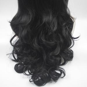 18 - 24 Inch Long Curly Black Heat Resistant Synthetic Hair Lace Front Wigs for Women -